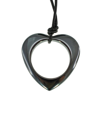 Iron Ore Heart On Leather Cord