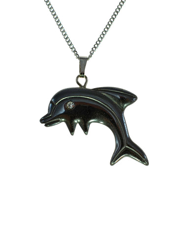 Iron Ore Dolphin on Silver Chain