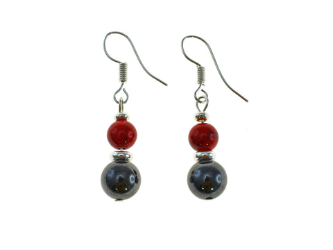 Magnetic Iron Ore Earring with Red Bead