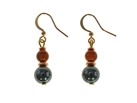 Magnetic Iron Ore Earring with Gold Sandstone