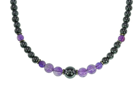 Magnetic Iron Ore Necklace with Amethyst