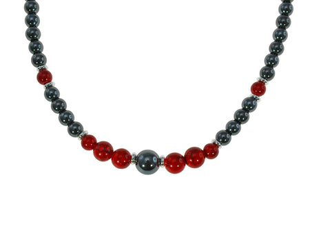 Magnetic Iron Ore Necklace with Red Beads