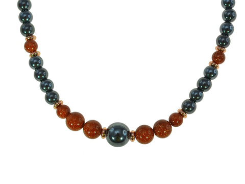 Magnetic Iron Ore Necklace with Gold Sandstone