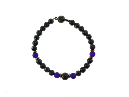 Magnetic Iron Ore Bracelet with Amethyst