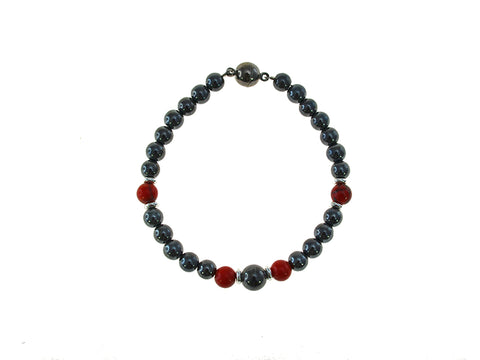Magnetic Iron Ore Bracelet with Red Beads