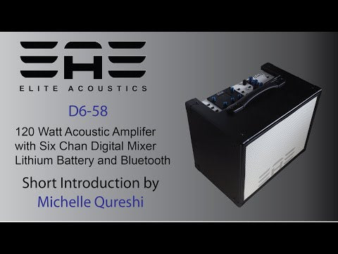 "Elite Acoustics ""EAE"" D6-58 120 Watt Acoustic Guitar and Vocal Amplifier with Lithium Battery and Bluetooth  - with 6 channel Digital Mixer - Wood"