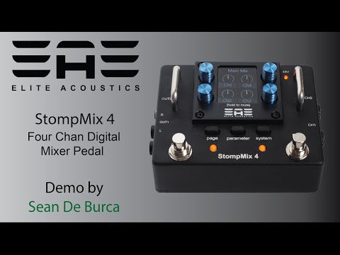 "Elite Acoustics ""EAE"" StompMix 4 - Four Channel Digital Mixer Pedal - Pedalboard mixer"