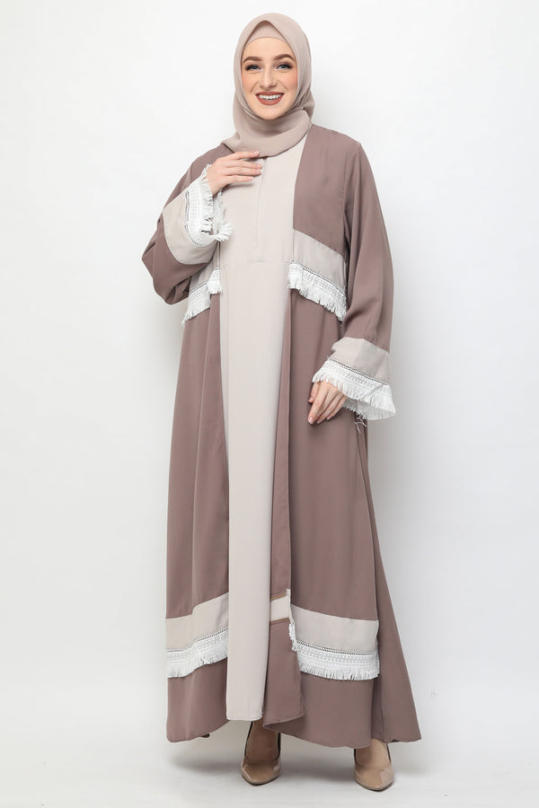 Abaya Rubby Lace Busui Brown