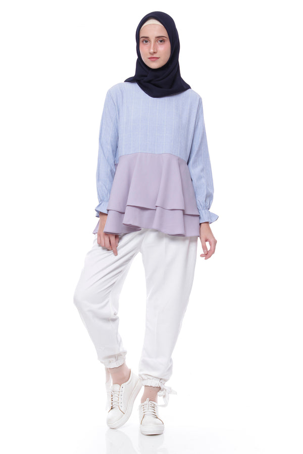 Blouse Anggun Blue - Light Grey