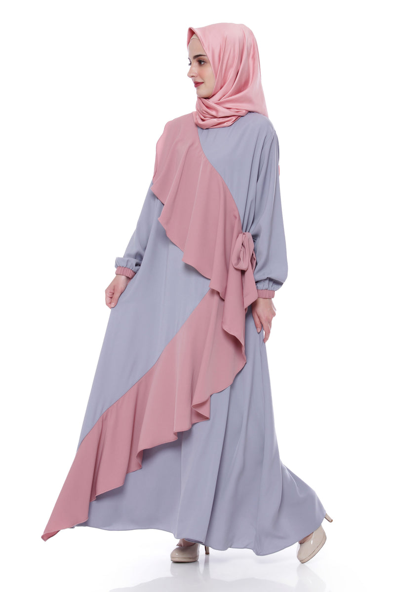 Dress Zalfa Light Grey - Dusty Pink