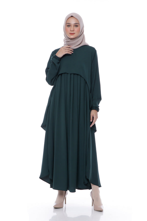 Dress Aileen Hijau Botol