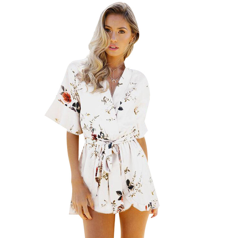 ed12214cc04 ELSVIOS Women Rompers print lace Jumpsuit Summer Short pleated Overalls  Jumpsuit Female chest wrapped strapless Playsuit