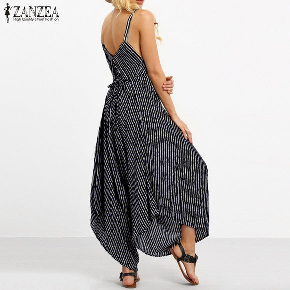a3c91202713c ... ZANZEA Summer Rompers Womens Jumpsuit 2018 Fashion Striped Long  Playsuit Casual Loose Sexy Backless Overalls Plus