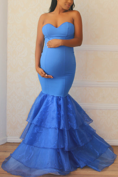 Blue maternity gown