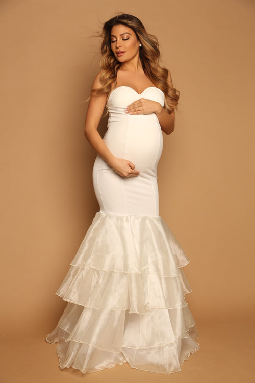 white maternity gown