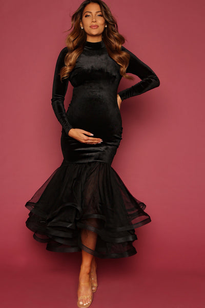Stretch Velvet Black Maternity dress