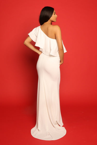 White off the shoulder dress for pregnant bride gown