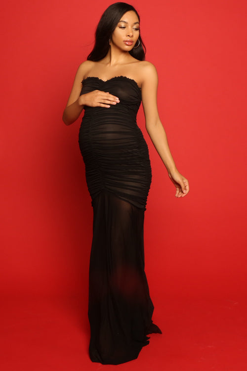 Glamorous Maternity dress, Sexy black pregnant guest outfits