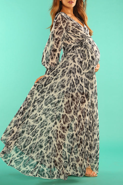Animal print maternity gown