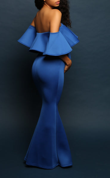 Royal Blue maternity evening gown
