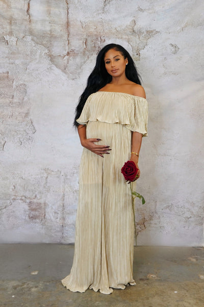 Gold maternity bardot gown