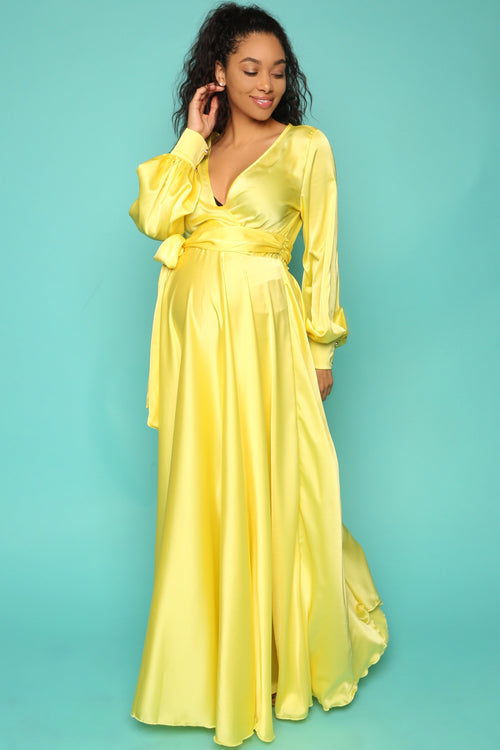 Yellow silky maternity wrap dress