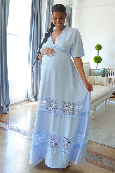 blue Boho Maternity maxi dress