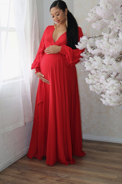 Beautiful Red maternity wrap gown