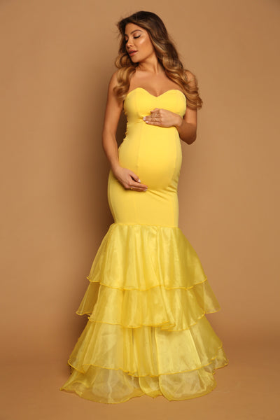 yellow maternity gown
