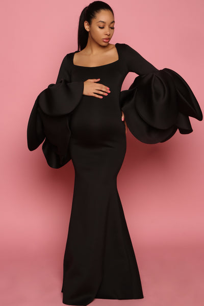 Black sexy Maternity Gown, Pregnant wedding guest dress
