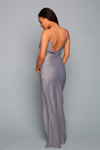blue open back maternity gown