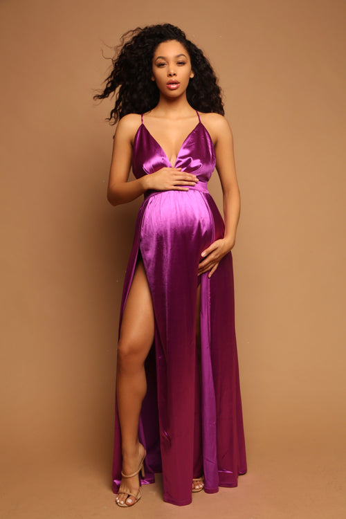 Purple maternity dress