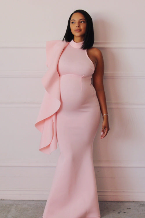 Pink Halter Neck baby shower gown,
