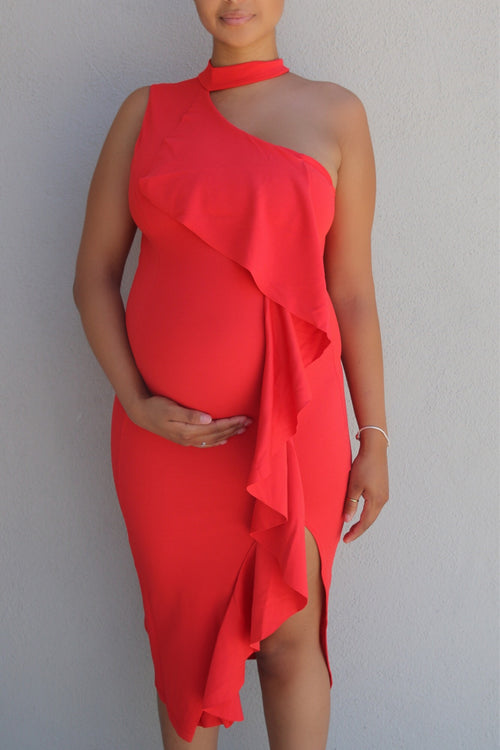 Blood orange Asymmetric maternity dress for a pregnant guest oufit