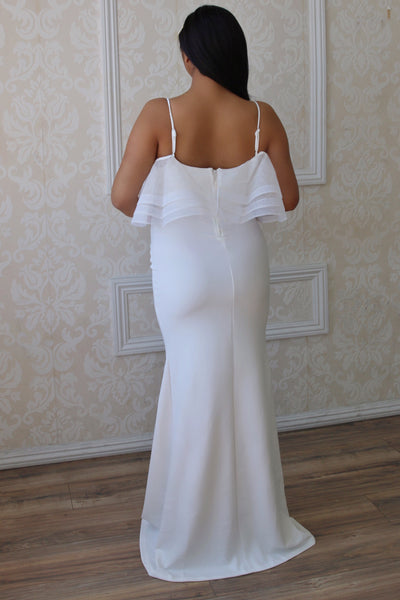 White Luxury Maternity Wear, Pregnant bride gown