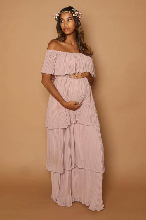 pink bohemian baby shower gown