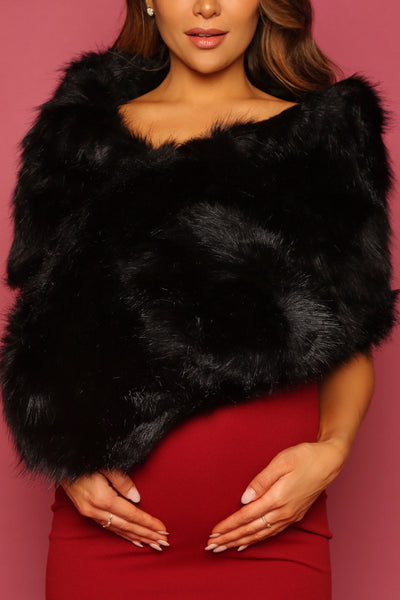 Black Faux Fur Bolero