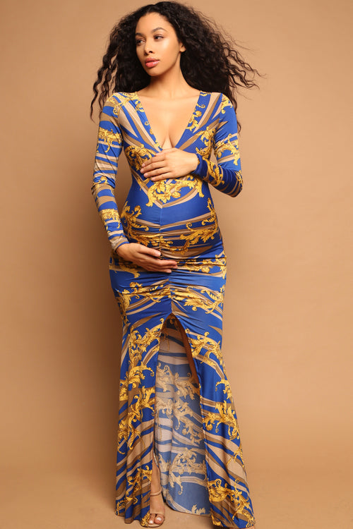 Blue and gold versace print maternity dress