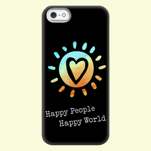 Happy People-Happy World - Black Phone Case