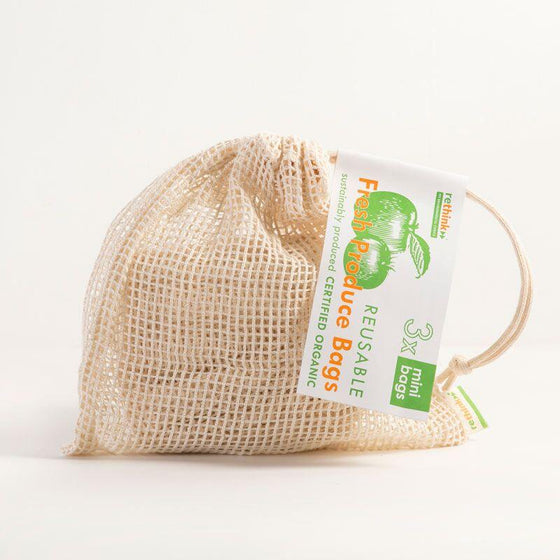 Organic Cotton Reusable Produce Bag - 3 Small Bags