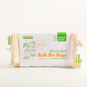 Organic Cotton 3 x Small Reusable Bulk Bin Bags