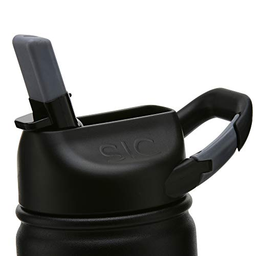 Insulated Bottle 27oz (800ml) Matte Black with Carabiner Lid