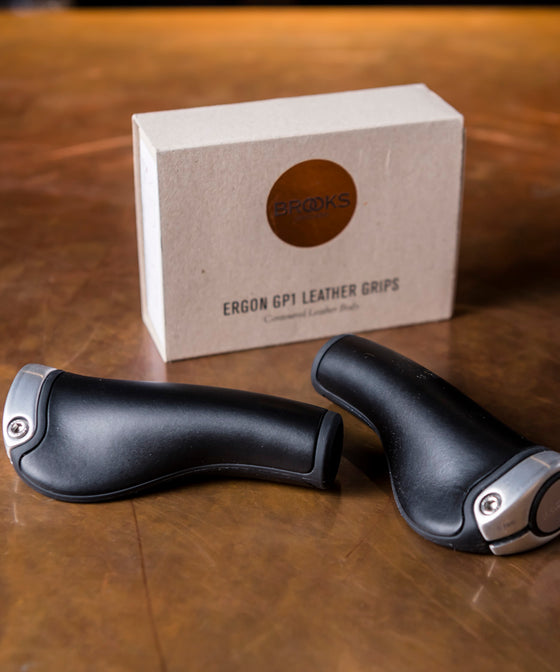 Brooks Ergon GP1 Leather Handlebar Grips - Black/Silver