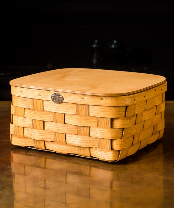 Storage Basket with Hinged Lid - Honey