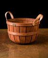 Oxford Storage Basket with Leather Handles - Cherry