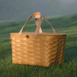 Peterboro Traditional Picnic Basket with Leather Handles
