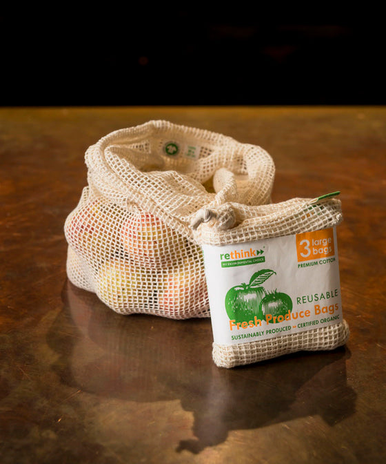 Organic Produce Bags - 3 Large Bags