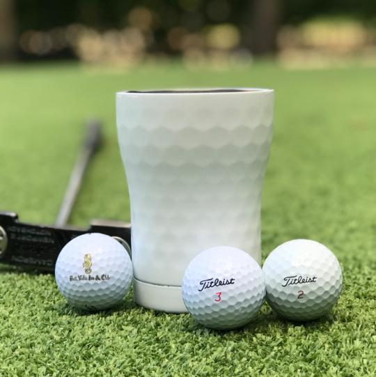 Insulated Cup 12oz (355ml) - Hammered White / Dimpled Golf