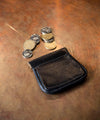 Squeeze Pouch Leather Coin Purse - Black