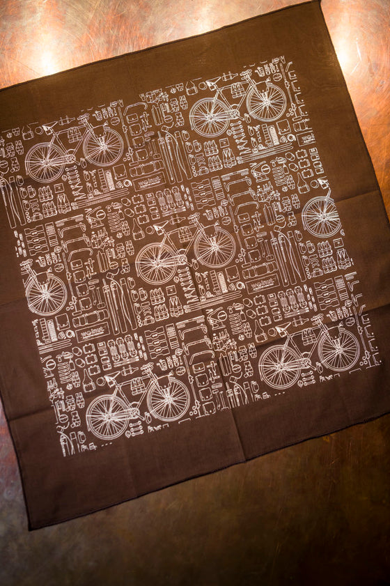 Walnut Bicycle Bandana - Brown